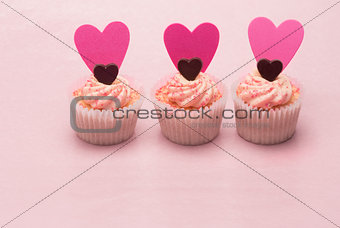 Three valentines cupcakes