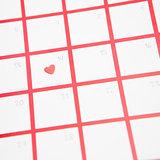 Confetti heart on valentines day on calendar