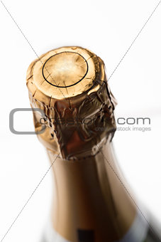Close up of top of champagne bottle