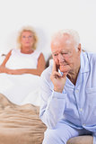 Upset old couple