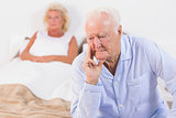 Discouraged old couple