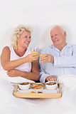 Old couple toasting at breakfast with orange juice