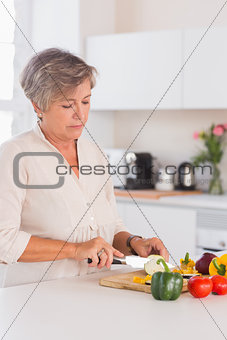 Old woman cutting vegetables on a cutting board