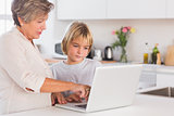 Grandmother showing laptop to a child