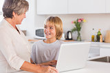 Granny and grandson using laptop and smiling