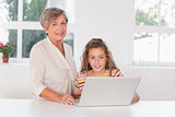 Grandmother and child looking at camera together with laptop