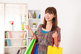 chinese girl with present and shopping