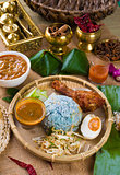Nasi Kerabu , a traditional east coast blue rice, Famous in stat