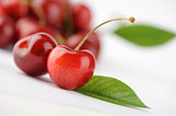 sweet cherries with the leaf