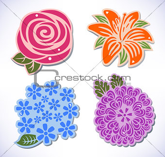Four flowers (rose, chrysanthemum, hydrangea, lily)