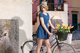 sexy blonde girl with bicycle