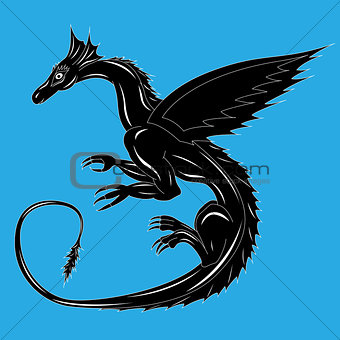 Black dragon on the blue
