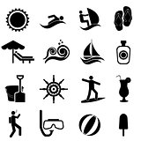 Beach, summer, travel and nautical icon set