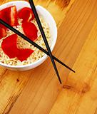 Chinese noodles with chop sticks
