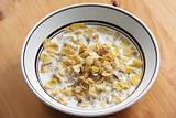 Corn flakes in milk
