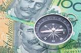 Compass on australia dollar bill