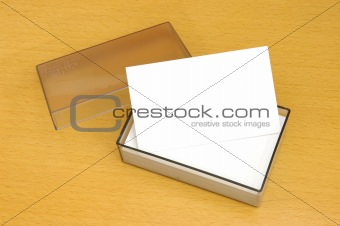 A box of blank business card
