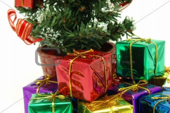 Close up of presents under christmas tree