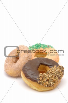 Three donuts with copy space