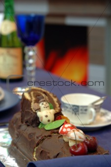 Christmas chocolate cake on table