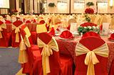 Table setting in wedding banquet