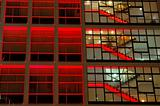 Office building in red lighting