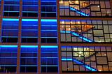 Office building in blue lighting