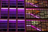 Office building in purple lighting