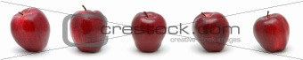 Five red delicious apples