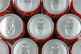 Top view of soda drink cans