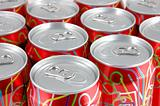 Red soda cans background