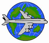 Jet plane flying up with globe