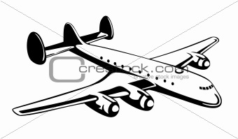 Airplane in flight on white background