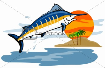 Blue marlin jumping in the sunset