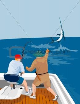 Fishermen angling that big catch