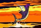 Sailfish jumping in the sunset