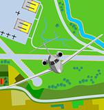 Airplane taking off from airfield