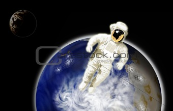 Astronaut with earth and moon in background