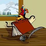 Cowboy riding a book
