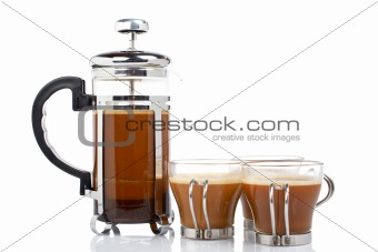 Three cups and coffee pot