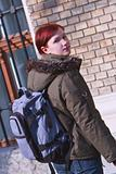 Redheaded girl student