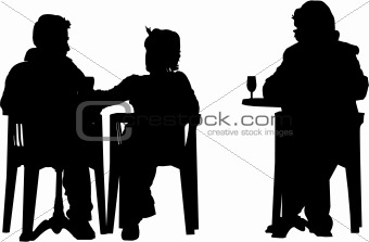 vector image of people setting at the cafeteria