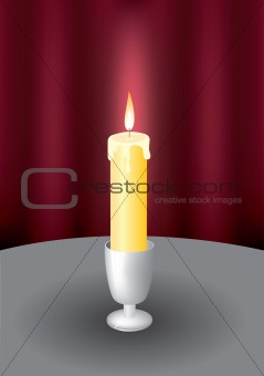 Candle and fire. A vector illustration.