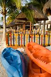 Sea Kayaks at Beach Resort Ready for Fun