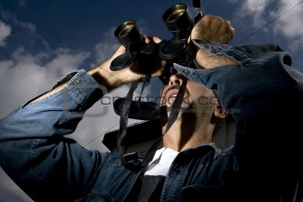 Man Using His Binoculars