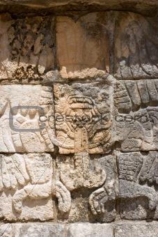 Mayan Relief. Chichen Itza. Vertical.