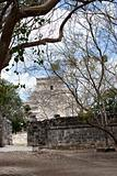 Chichen Itza pyramid viewed through the trees.