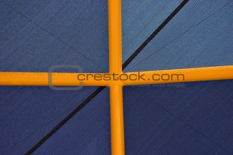 Blue Canvas on Yellow Poles