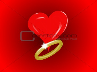 Single Heart and gold Ring