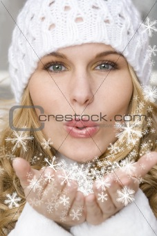 winter woman (SNOWFLAKES CREATED BY ME)